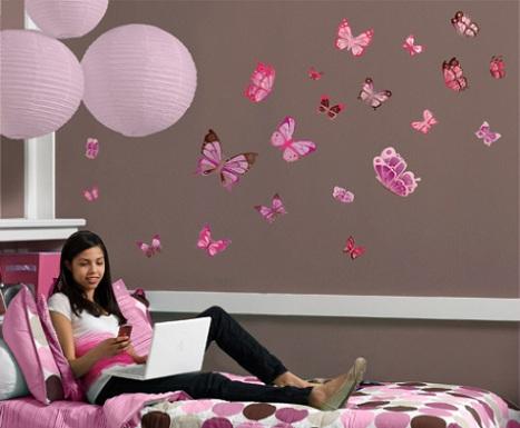 Como decorar paredes con mariposas ideas consejos for Decoracion de habitaciones juveniles con vinilos